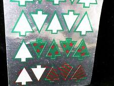 Vtg RARE Hallmark Foil STICKERS~Christmas Trees~1986~Partial sheet/7~Metallics