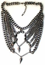 Spike Statement Necklace, Chunky Pewter Colour Statement Funky Jewellery,