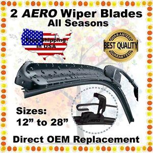 """AERO 24"""" & 22"""" PREMIUM QUALITY SUMMER WINTER BRACKETLESS WINDSHIELD WIPER BLADES"""
