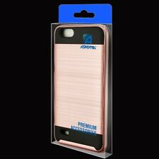 ROSE GOLD BLACK BRUSHED IMPACT COVER CASE + SCREEN FILM FOR ZTE Avid 4