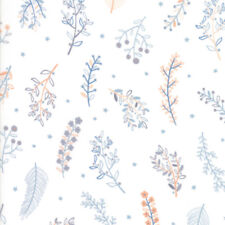 Wild and Free Flowers Feathers 35316 11 Moda Fabric by the 1/2 yard on White