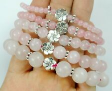 "Natural Rose Quartz Gem Bead Tibetan Silver flower Strecthable bracelet 7.8"""