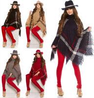 Poncho donna pullover cardigan maglia collo alto con frange giacca a quadri