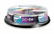 10 Philips DVD-RW RE-WRITABLE DVD's 10 Pack Spindle Blank DVD Discs