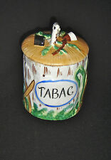 ANCIEN POT À TABAC EN PORCELAINE ET BISCUIT DÉCOR BARBOTINE