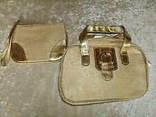 Gold Trim Purse Zips Close Bag comes w/ zipered bag use as purse or make-up case
