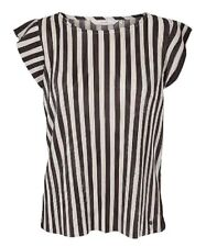 Ladies Striped Blouse Size UK 12 Womens Ribbed Short Sleeved Top #582
