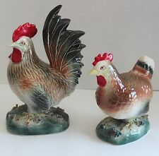 Vtg Ucagco Hand Glazed Rooster & Hen Ceramic Chicken Figurine Decorative Set