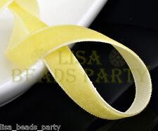 "10yards 3/8"" 10mm Velvet Ribbon Bows Wedding Party Decoration Sew LightYellow"