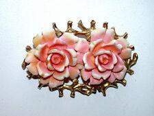 Beautiful Vintage JUDY LEE Designer Signed Pink Roses Pin/Brooch