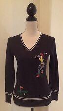 GOLF SWEATER Vtg 70's Black Embroidered Scene Merino Wool V-Neck Woman's M RARE!