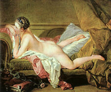 """Nice Oil painting francois boucher Nude on a Sofa on bed young beauty canvas 36"""""""