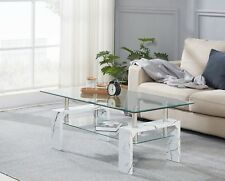 Modern Rectangle Coffee Table Clear Glass Marble Effect Legs with lower shelf
