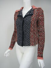 FREE PEOPLE Navy Red White Chunky Knit Cutaway Back Snap Front Cardigan sz S