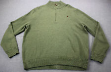 RALPH LAUREN Mens Green Half Zip Burgundy Pony Emblem Mock Sweater NWT 2XL $165