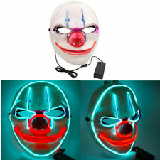 LED Halloween Purge Masks Light Up Adult Costume Neon Stitches Joker Smile Masks