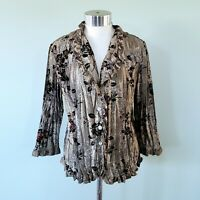Dressbarn Collection Crinkle Silky Blouse Size M Floral Green Brown 3/4 Sleeve