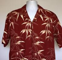 Mens Pacific Legend Hawaiian Shirt XL Aloha Palms open pocket brick red cotton