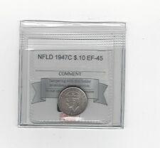 **1947c**, Coin Mart Graded, Newfoundland  Silver 10 Cent, **EF-45**