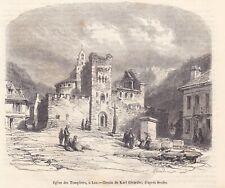 Antique print Knights Templar church Eglise des Templiers Luz-Saint-Sauveur 1852
