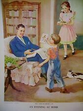 VINTAGE CHRISTIAN FAMILY AT HOME HANDSAKER ORIGINAL PROVIDENCE LITHOGRAPH  1958
