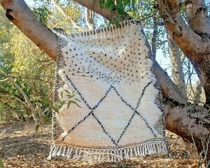 Rug Beni Ourain, Moroccan Handmade 100% Wool Area Rug Berber Beni Ouarain Carpet