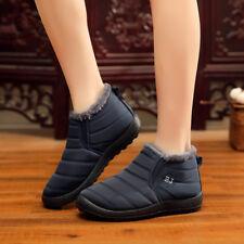Men's Women Winter Warm Fur-lined Ankle Snow Boots Slip On Shoes Waterproof CA