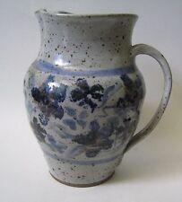 Vintage Stoneware Pitcher Blue Flower glaze Pinched Lip Asian Mark