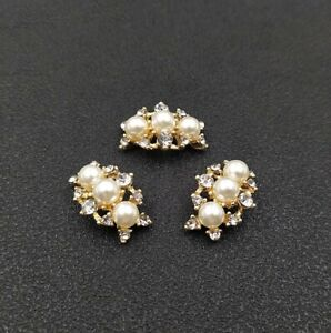 5 Pieces Cambered Alloy Faux Pearls Rhinestones Buttons for Crafts Decorations