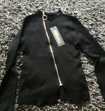Ladies Black Ring Pull Zip Cardigan Size M/L