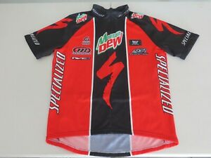 Specialized Cycling Jersey Men's Large Mountain Dew Red 1/2 Zip