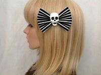 Black white striped skull hair bow clip rockabilly pin up girl punk gothic