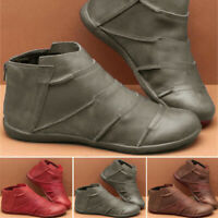 2019 Women Flat Ankle Boots Vintage Ladies Winter Arch Support Comfy Shoes Size