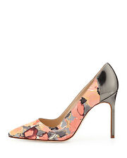 New Manolo Blahnik BB 105 Floral Coral Grey Patent Leather Shoes Pumps 39