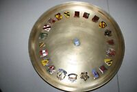 Vintage Brass Presentation Tray with Various Military Lapel Pins, AFKN Korea