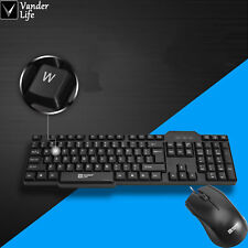 Ergonomic basic wired keyboard and wired optical mouse