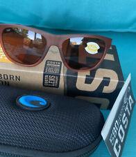 New COSTA DEL MAR Bayside 580P Sunglasses Copper Matte Coral Frame Reg $188
