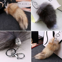 Women Faux Fox Tail Keychain Car Key Chain Bag Strap Ornaments Gift