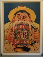 AFFICHE ORIGINALE ENTOILÉE BIÈRE DU LION CRÉATEUR OGE VERS 1930