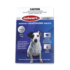 Nuheart 6 x monthly Heartworm soluble tabs small dogs up to 11kg Blue Exp:04/21