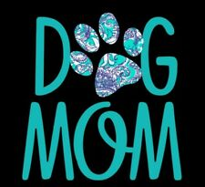 Dog Mom Decal with Blue, Teal and White Decorative Paw Print - Window Decal
