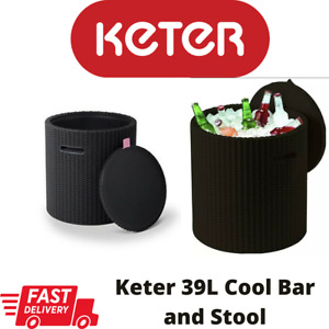 Keter Rattan Style Cool Stool Drinks Bar Anthracite Outdoor Indoor 39L Ice Box