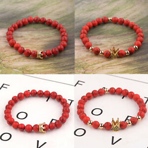 Couples His And Her Zircon Crown 8mm Round Ball Red Turquoise Stretch Bracelets
