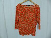 Jones New York Women's Printed 3/4 Sleeve Boat Neck Tee Shirt 100% Cotton Sz 1X