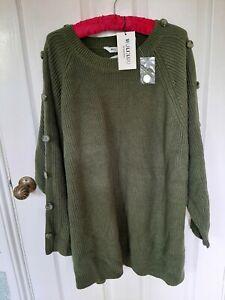 WULI:LUU by Gok Wan Button Detail Jumper Olive Green Size XL RRP £50.00 BNWT