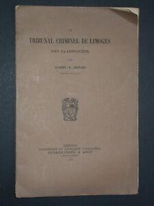 Tribunal criminel de Limoges sous la Convention - Abbé Lecler 1918