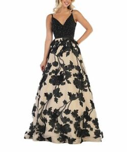 MSRP $330 MayQueen Black & Ivory Floral Side-Pocket Gown Size 18
