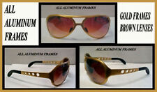 ELVIS SUNGLASSES ALL  METAL AVIATOR  GOLD Aluminum