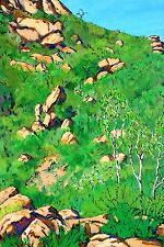 CALIFORNIA HILLSIDE PLEIN AIR ACRYLIC PAINTING ON GALLERY-WRAPPED CANVAS
