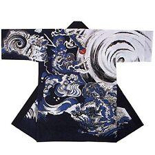 NEW Japanese Traditional Festival Coat HAPPI Blue Dragon Kimono Room wear Japan
